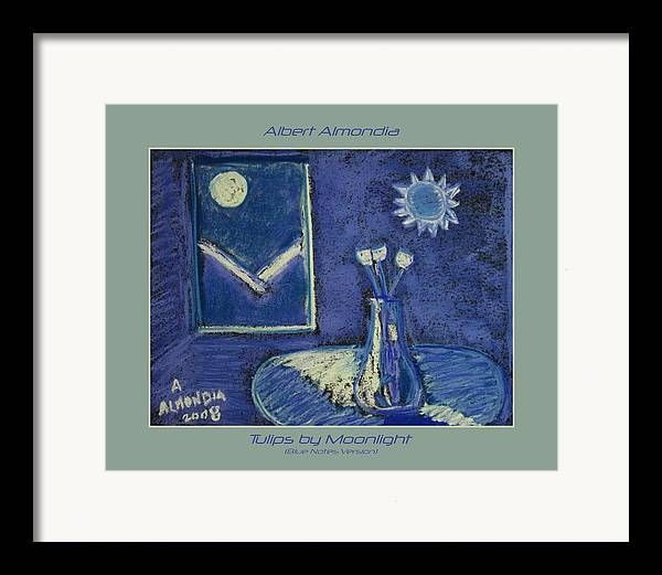 Tulips Framed Print featuring the painting Tulips By Moonlight - Blue Notes Version by Albert Almondia
