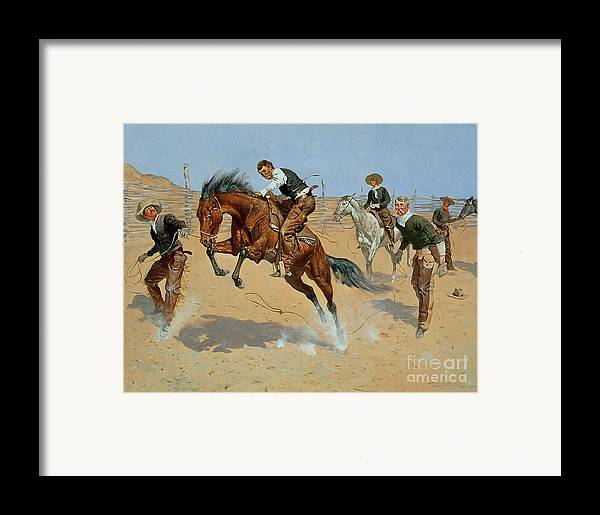 Turn Him Loose Framed Print featuring the painting Turn Him Loose by Frederic Remington