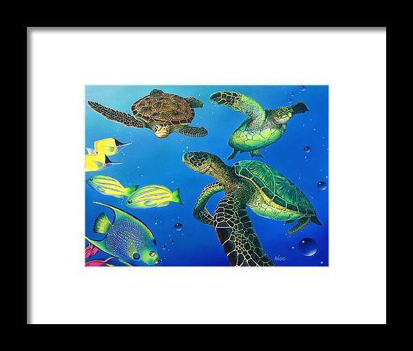Turtle Framed Print featuring the painting Turtle Towne by Angie Hamlin