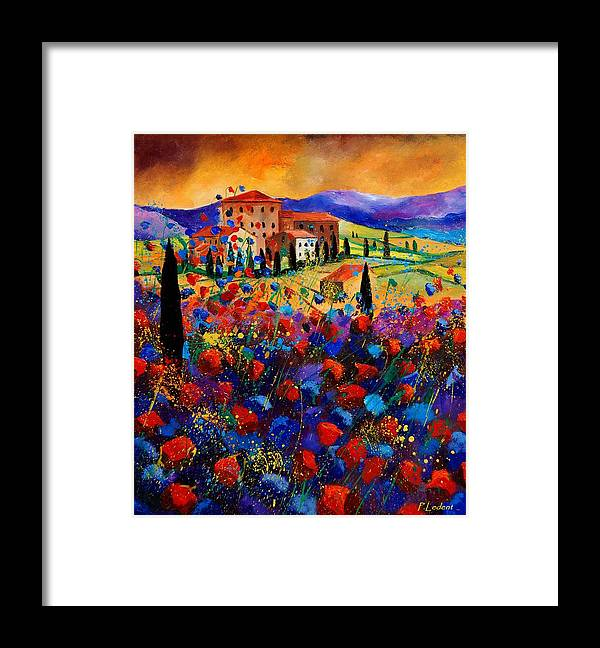 Flowers Framed Print featuring the painting Tuscany poppies by Pol Ledent