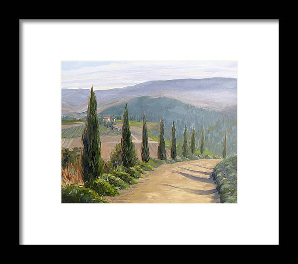 Landscape Framed Print featuring the painting Tuscany Road by Jay Johnson