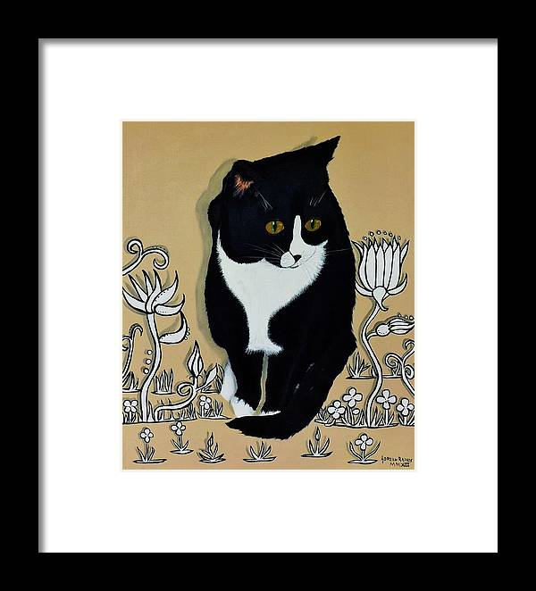 Tuxedo Cat Framed Print featuring the painting Tuxedo Cat by Adrian Ramos