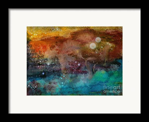 Atmospheric Framed Print featuring the painting Twilight In The Cosmos by Janet Hinshaw