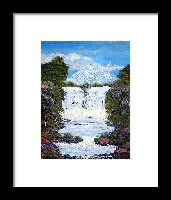 Landscapes Paintings Framed Print featuring the painting Twin Falls by Allison Prior