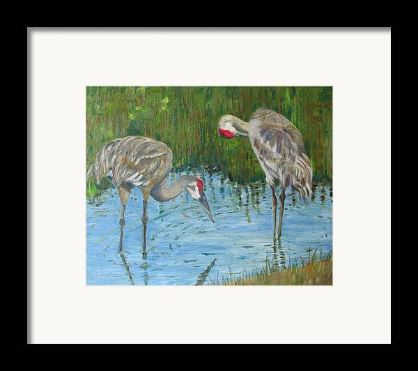 Marsh Framed Print featuring the painting Two Cranes by Libby Cagle