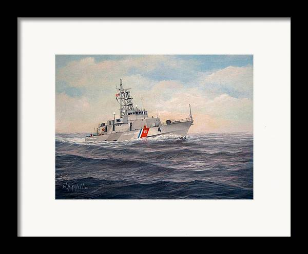 Coast Guard Framed Print featuring the painting U. S. Coast Guard Cutter Monsoon by William H RaVell III