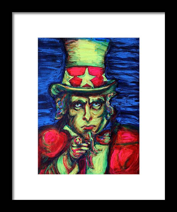 Uncle Sam Framed Print featuring the painting Uncle Sam by Hannah Curran