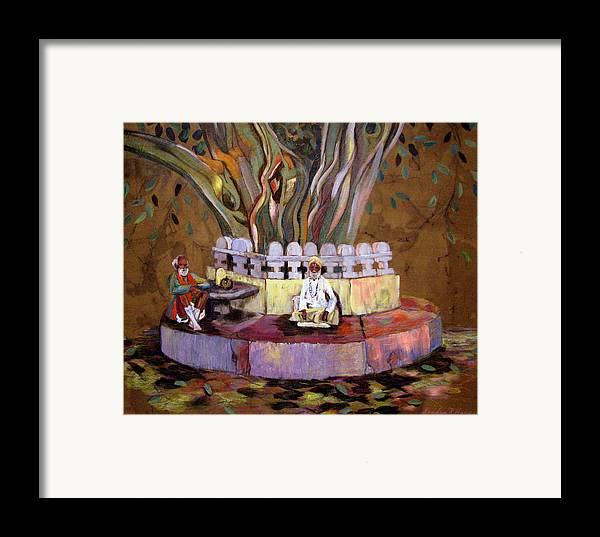 Banyan Tree Framed Print featuring the painting Under The Banyan Tree by Art Nomad Sandra Hansen