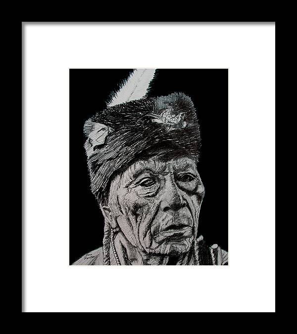 Indian Portrait Framed Print featuring the drawing Unknown Indian III by Stan Hamilton