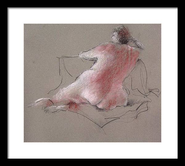 Nude Framed Print featuring the drawing Untitled by Paul Miller