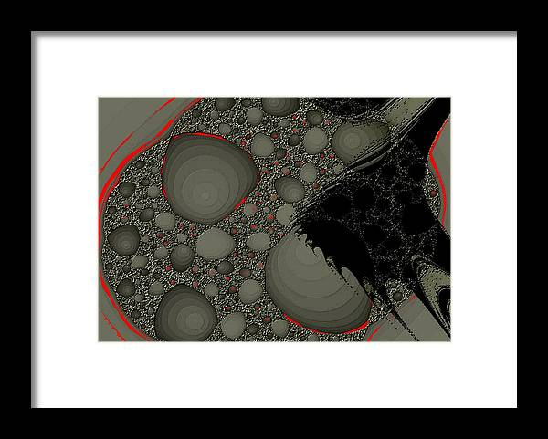 Fractals Embers Fire Cells Stones Rocks Framed Print featuring the digital art Untitled 1 by Veronica Jackson