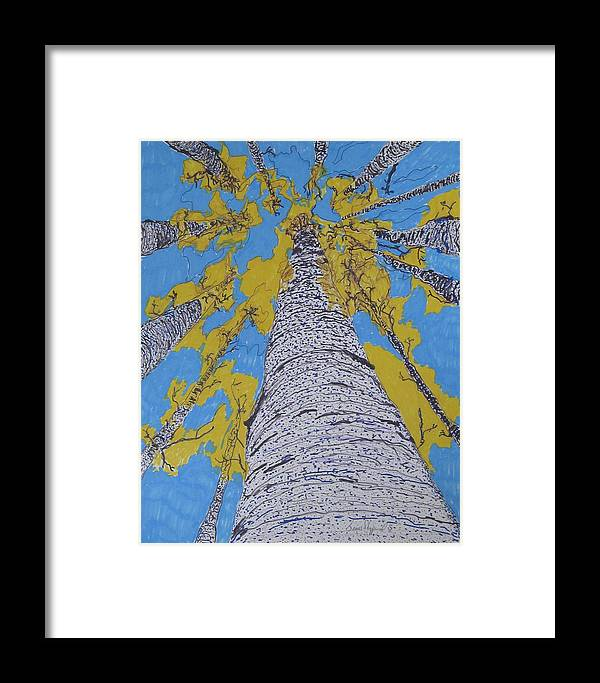 Abstract Birch Framed Print featuring the mixed media Up At Birch by James SheppardIII
