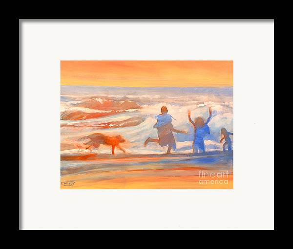 Kids Framed Print featuring the painting Vacation Kids by Kip Decker