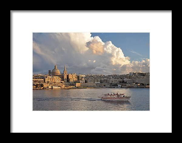 Valetta Framed Print featuring the photograph Valetta Skyline, Malta. by David ELLIOTT