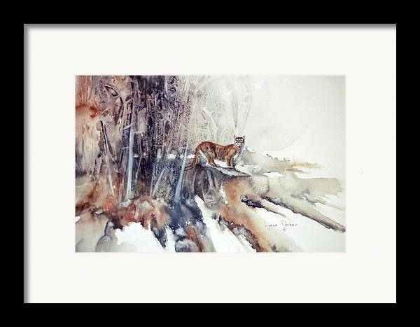 Cougar Framed Print featuring the painting Vantage Point by Lynne Parker
