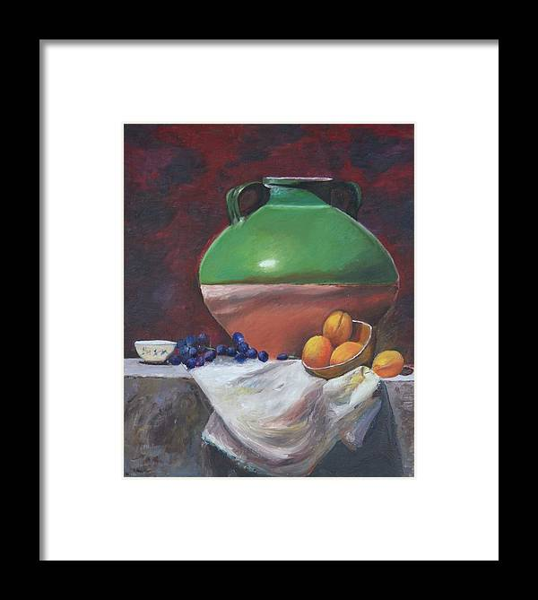 Vase Framed Print featuring the painting Vase by Taly Bar