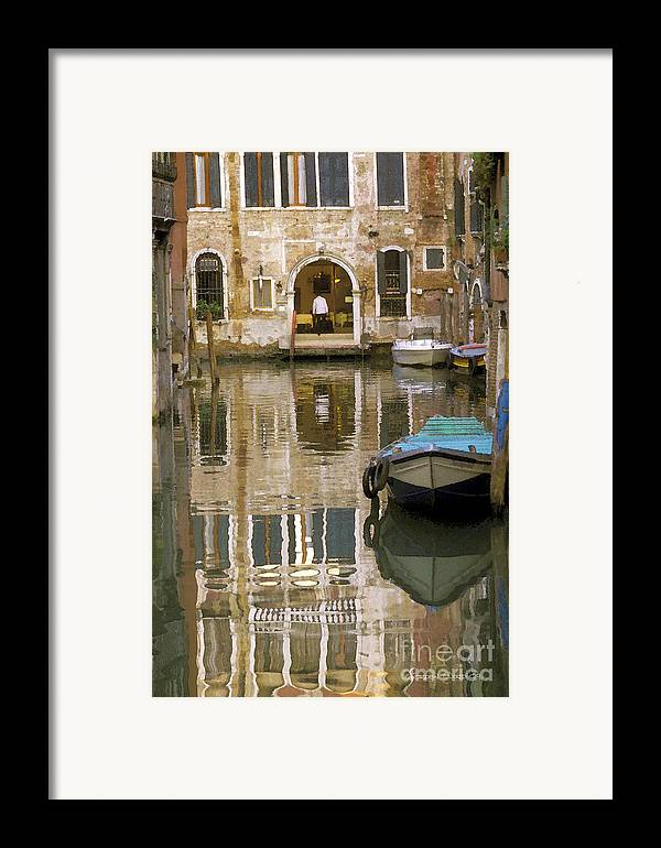 Boats Framed Print featuring the photograph Venice Restaurant On A Canal by Gordon Wood