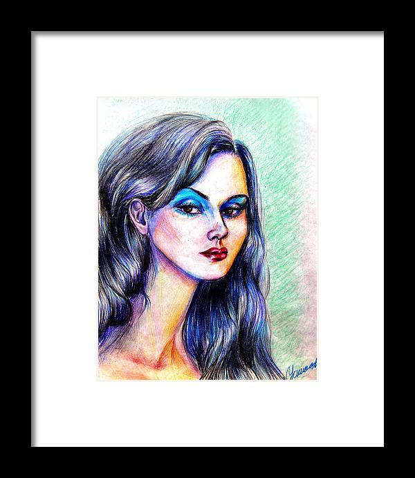 Women Framed Print featuring the drawing Veronica-spain by Yelena Rubin