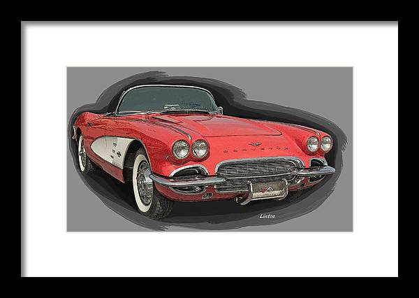 Corvette Framed Print featuring the digital art Vette by Larry Linton
