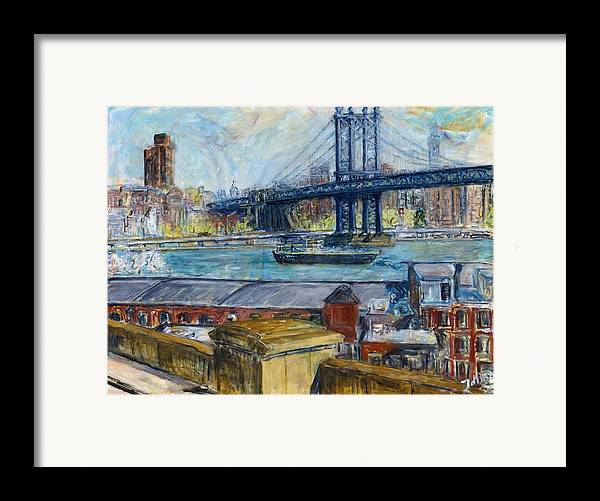 New York Manhattan Bridge Water River Boat Warehouses Framed Print featuring the painting View From Brooklyn Bridge by Joan De Bot