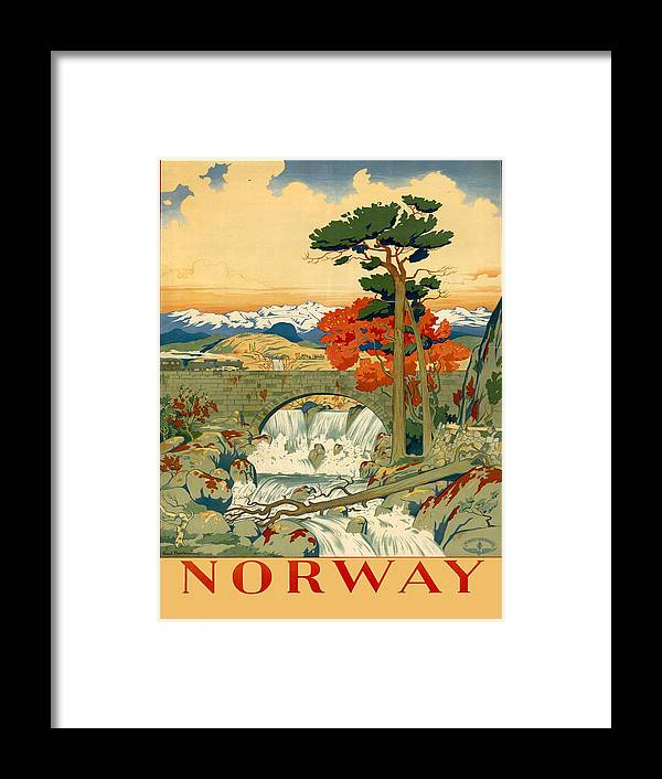Vintage Poster Framed Print featuring the painting Vintage Poster - Norway by Vintage Images