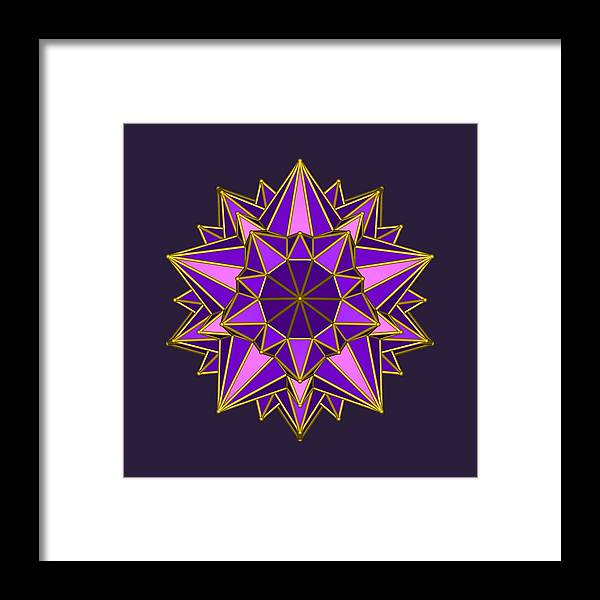 Archimedic Solid Framed Print featuring the digital art Violet Galactic Star by Mandala Matrix