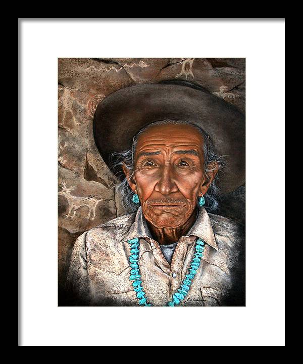 People Framed Print featuring the painting Vision Of The Past by Deb Owens-Lowe