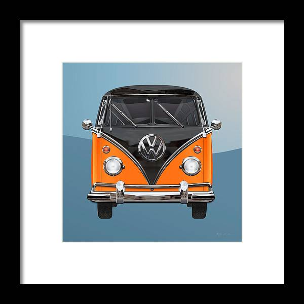 'volkswagen Type 2' Collection By Serge Averbukh Framed Print featuring the photograph Volkswagen Type 2 - Black and Orange Volkswagen T 1 Samba Bus over Blue by Serge Averbukh