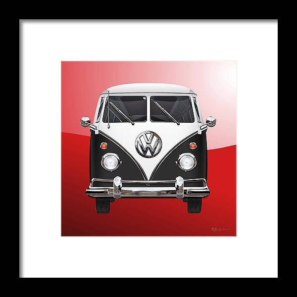 'volkswagen Type 2' Collection By Serge Averbukh Framed Print featuring the photograph Volkswagen Type 2 - Black And White Volkswagen T 1 Samba Bus On Red by Serge Averbukh