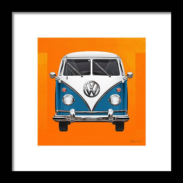 'volkswagen Type 2' Collection By Serge Averbukh Framed Print featuring the photograph Volkswagen Type 2 - Blue And White Volkswagen T 1 Samba Bus Over Orange Canvas by Serge Averbukh