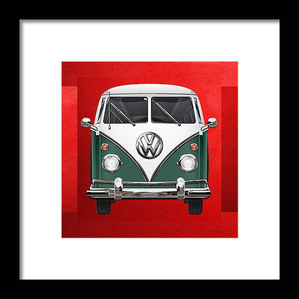 'volkswagen Type 2' Collection By Serge Averbukh Framed Print featuring the photograph Volkswagen Type 2 - Green and White Volkswagen T 1 Samba Bus over Red Canvas by Serge Averbukh