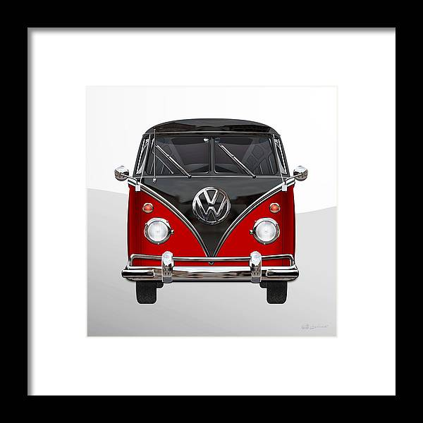 'volkswagen Type 2' Collection By Serge Averbukh Framed Print featuring the photograph Volkswagen Type 2 - Red and Black Volkswagen T 1 Samba Bus on White by Serge Averbukh