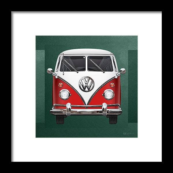 'volkswagen Type 2' Collection By Serge Averbukh Framed Print featuring the photograph Volkswagen Type 2 - Red and White Volkswagen T 1 Samba Bus over Green Canvas by Serge Averbukh
