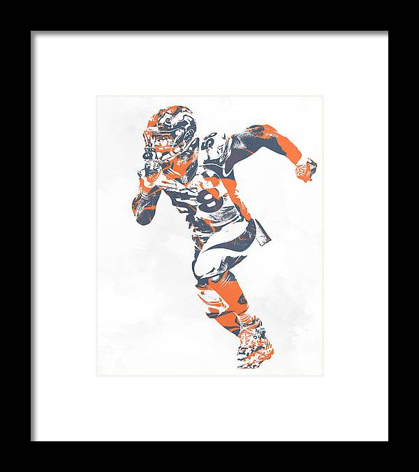 Von Miller Denver Broncos Pixel Art 30 Framed Print by Joe Hamilton