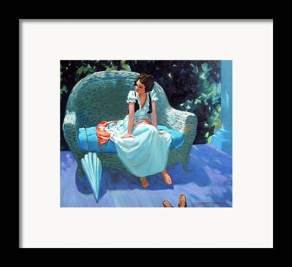 Girl Framed Print featuring the painting Waiting For The Artist by Kevin Lawrence Leveque
