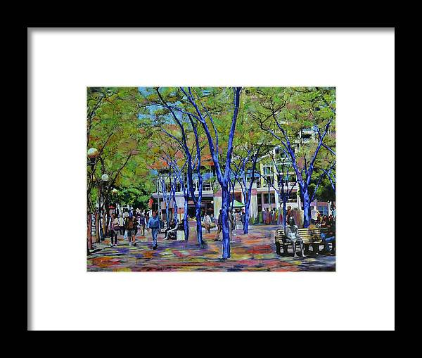 Framed Print featuring the mixed media Walk In The Park by Sarah Ghanooni