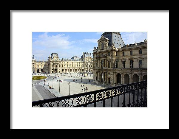 Louvre Framed Print featuring the photograph Walking At The Louvre by Susie Weaver