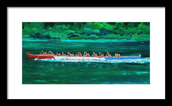 Water Paintings Framed Print featuring the painting war canoe races 1977 Nooksack tribe Wa by George Chacon