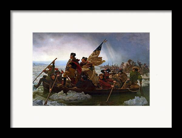 Washington Crossing The Delaware Framed Print featuring the digital art Washington Crossing The Delaware by Emanuel Leutze