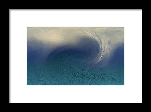 Abstract Wave Blue White Framed Print featuring the digital art Water And Clouds by Linda Sannuti