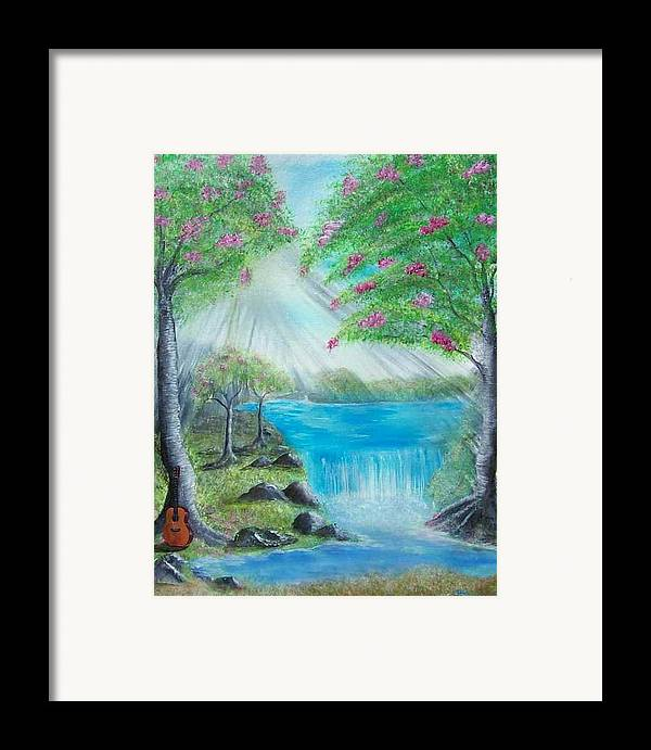 Guitar Framed Print featuring the painting Waterfall by Tony Rodriguez