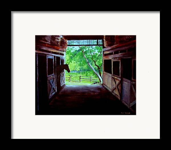 Horse Framed Print featuring the painting Water's Edge Farm by Jack Skinner