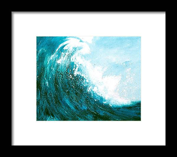 Seascape Framed Print featuring the mixed media wave I by Martine Letoile