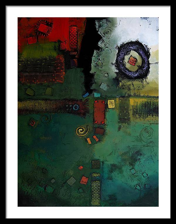 Framed Print featuring the painting Weaving The Light by Farhan Abouassali