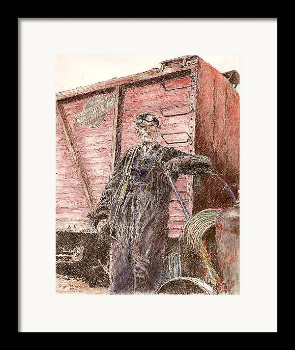 Welder Framed Print featuring the painting Welder by Roger Parnow