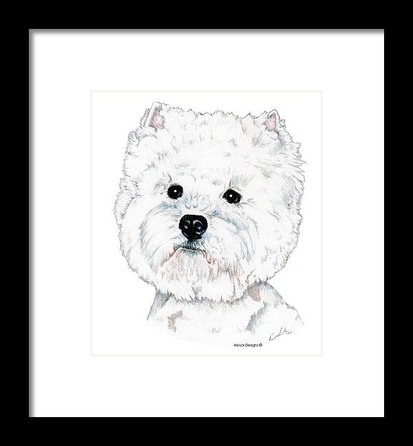West Highland White Terrier Framed Print featuring the drawing West Highland White Terrier, Westie by Kathleen Sepulveda