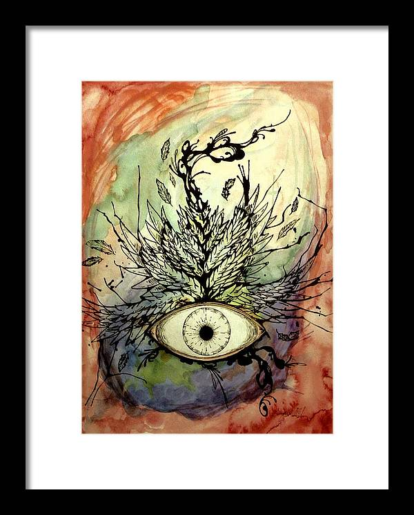 Eye Framed Print featuring the painting When I Thought Of You My Mind Soared by Enrique Simmons