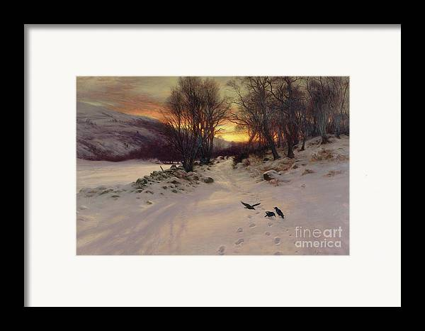 Winter Framed Print featuring the painting When The West With Evening Glows by Joseph Farquharson