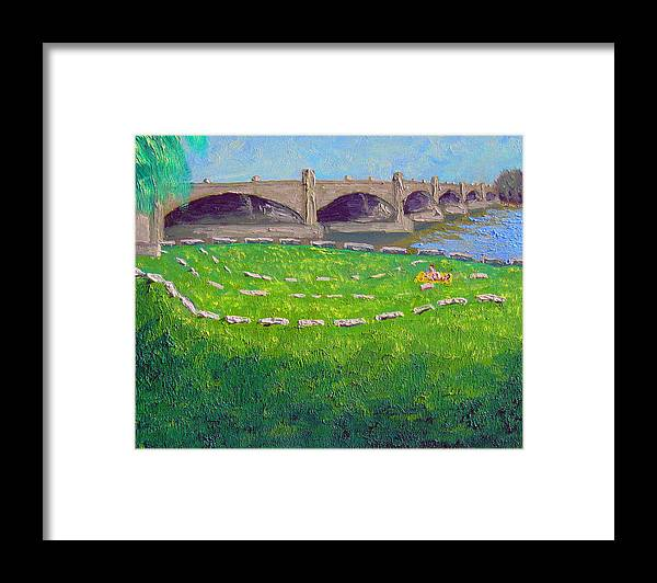 Bridge Framed Print featuring the painting White River Bridge by Stan Hamilton