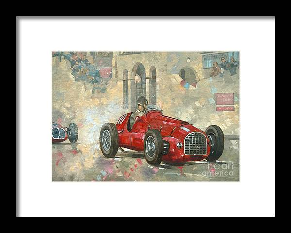 Whitehead Framed Print featuring the painting Whitehead's Ferrari passing the pavillion - Jersey by Peter Miller